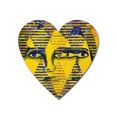 Conundrum Ii, Abstract Golden & Sapphire Goddess Heart Magnet by DianeClancy