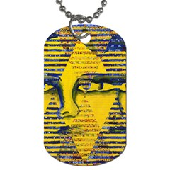Conundrum Ii, Abstract Golden & Sapphire Goddess Dog Tag (one Side) by DianeClancy