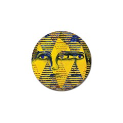 Conundrum Ii, Abstract Golden & Sapphire Goddess Golf Ball Marker (4 Pack) by DianeClancy