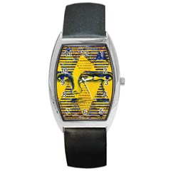 Conundrum Ii, Abstract Golden & Sapphire Goddess Barrel Style Metal Watch by DianeClancy
