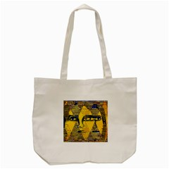 Conundrum Ii, Abstract Golden & Sapphire Goddess Tote Bag (cream) by DianeClancy