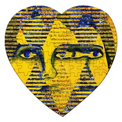 Conundrum Ii, Abstract Golden & Sapphire Goddess Jigsaw Puzzle (heart) by DianeClancy