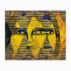 Conundrum Ii, Abstract Golden & Sapphire Goddess Small Glasses Cloth by DianeClancy