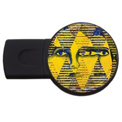 Conundrum Ii, Abstract Golden & Sapphire Goddess Usb Flash Drive Round (4 Gb)  by DianeClancy