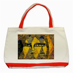 Conundrum Ii, Abstract Golden & Sapphire Goddess Classic Tote Bag (red) by DianeClancy