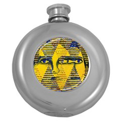 Conundrum Ii, Abstract Golden & Sapphire Goddess Round Hip Flask (5 Oz) by DianeClancy