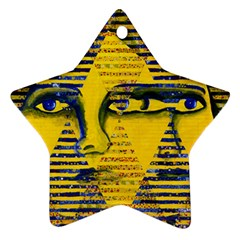 Conundrum Ii, Abstract Golden & Sapphire Goddess Star Ornament (two Sides)  by DianeClancy