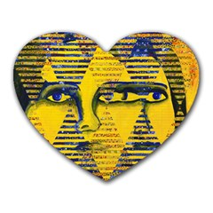 Conundrum Ii, Abstract Golden & Sapphire Goddess Heart Mousepads by DianeClancy