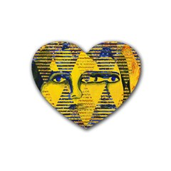 Conundrum Ii, Abstract Golden & Sapphire Goddess Heart Coaster (4 Pack)  by DianeClancy