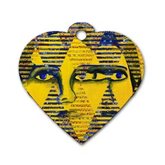 Conundrum Ii, Abstract Golden & Sapphire Goddess Dog Tag Heart (one Side) by DianeClancy