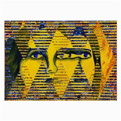 Conundrum Ii, Abstract Golden & Sapphire Goddess Large Glasses Cloth by DianeClancy