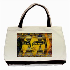 Conundrum Ii, Abstract Golden & Sapphire Goddess Basic Tote Bag (two Sides) by DianeClancy