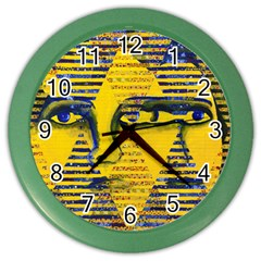 Conundrum Ii, Abstract Golden & Sapphire Goddess Color Wall Clocks by DianeClancy