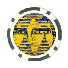 Conundrum Ii, Abstract Golden & Sapphire Goddess Poker Chip Card Guards by DianeClancy