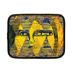 Conundrum Ii, Abstract Golden & Sapphire Goddess Netbook Case (small)  by DianeClancy