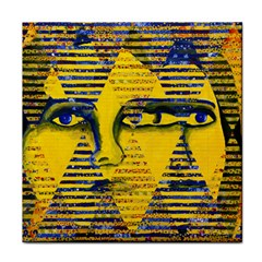 Conundrum Ii, Abstract Golden & Sapphire Goddess Face Towel by DianeClancy