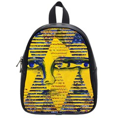 Conundrum Ii, Abstract Golden & Sapphire Goddess School Bags (small)  by DianeClancy