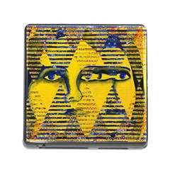 Conundrum Ii, Abstract Golden & Sapphire Goddess Memory Card Reader (square) by DianeClancy