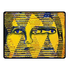 Conundrum Ii, Abstract Golden & Sapphire Goddess Fleece Blanket (small) by DianeClancy