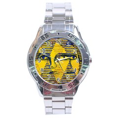 Conundrum Ii, Abstract Golden & Sapphire Goddess Stainless Steel Analogue Watch by DianeClancy