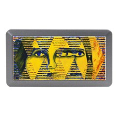 Conundrum Ii, Abstract Golden & Sapphire Goddess Memory Card Reader (mini) by DianeClancy