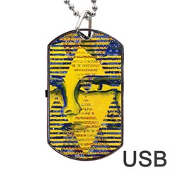 Conundrum Ii, Abstract Golden & Sapphire Goddess Dog Tag Usb Flash (two Sides)  by DianeClancy
