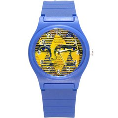 Conundrum Ii, Abstract Golden & Sapphire Goddess Round Plastic Sport Watch (s) by DianeClancy