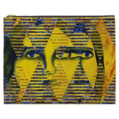 Conundrum Ii, Abstract Golden & Sapphire Goddess Cosmetic Bag (xxxl)  by DianeClancy