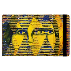 Conundrum Ii, Abstract Golden & Sapphire Goddess Apple Ipad 2 Flip Case by DianeClancy
