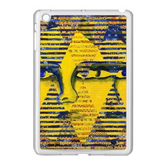 Conundrum Ii, Abstract Golden & Sapphire Goddess Apple Ipad Mini Case (white) by DianeClancy
