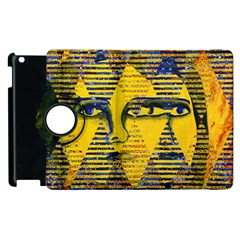 Conundrum Ii, Abstract Golden & Sapphire Goddess Apple Ipad 3/4 Flip 360 Case by DianeClancy