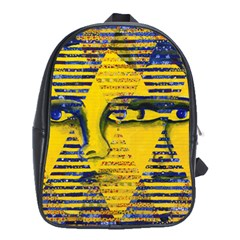 Conundrum Ii, Abstract Golden & Sapphire Goddess School Bags (xl)  by DianeClancy