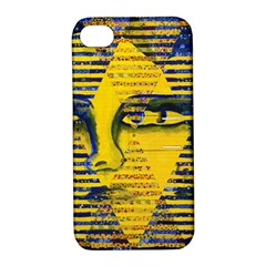 Conundrum Ii, Abstract Golden & Sapphire Goddess Apple Iphone 4/4s Hardshell Case With Stand by DianeClancy