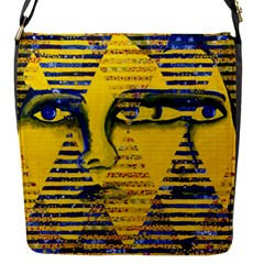Conundrum Ii, Abstract Golden & Sapphire Goddess Flap Messenger Bag (s) by DianeClancy