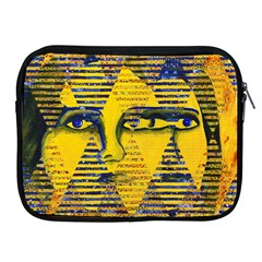 Conundrum II, Abstract Golden & Sapphire Goddess Apple iPad 2/3/4 Zipper Cases by DianeClancy