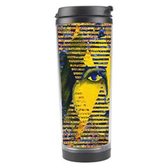 Conundrum Ii, Abstract Golden & Sapphire Goddess Travel Tumbler by DianeClancy