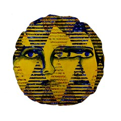 Conundrum Ii, Abstract Golden & Sapphire Goddess Standard 15  Premium Flano Round Cushions by DianeClancy