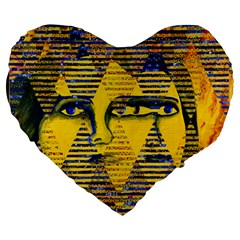 Conundrum Ii, Abstract Golden & Sapphire Goddess Large 19  Premium Flano Heart Shape Cushions by DianeClancy
