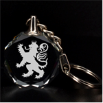 Engraved Heraldic Lion Key Chain - 3D Engraving Circle Key Chain