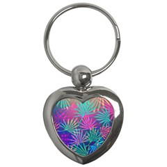 Colored Palm Leaves Background Key Chains (heart)  by TastefulDesigns