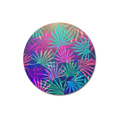 Colored Palm Leaves Background Magnet 3  (round) by TastefulDesigns
