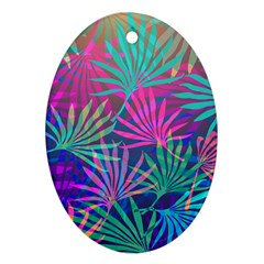 Colored Palm Leaves Background Oval Ornament (two Sides)