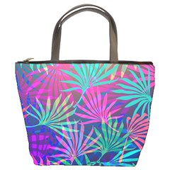 Colored Palm Leaves Background Bucket Bags by TastefulDesigns