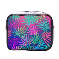 Colored Palm Leaves Background Mini Toiletries Bags by TastefulDesigns