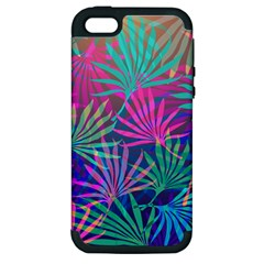 Colored Palm Leaves Background Apple Iphone 5 Hardshell Case (pc+silicone) by TastefulDesigns