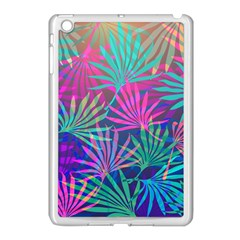 Colored Palm Leaves Background Apple Ipad Mini Case (white) by TastefulDesigns
