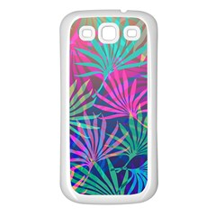 Colored Palm Leaves Background Samsung Galaxy S3 Back Case (white) by TastefulDesigns