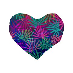 Colored Palm Leaves Background Standard 16  Premium Flano Heart Shape Cushions by TastefulDesigns