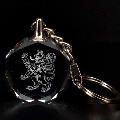 Engraved Lion With Crown Rampant Key Chain By Rd   3d Engraving Circle Key Chain   8lx02sf1x8p2   Www Artscow Com Front