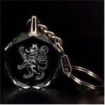 Lion Rampant Engraved Key Chain - 3D Engraving Circle Key Chain